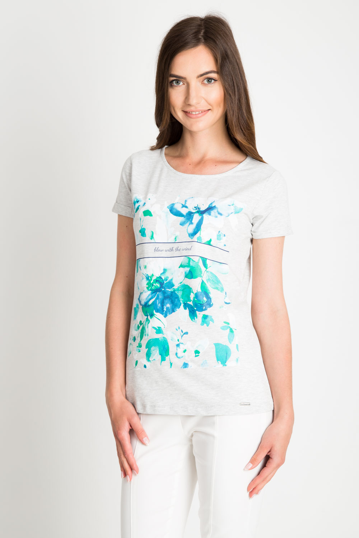 Szara bluzka w niebieskie kwiaty