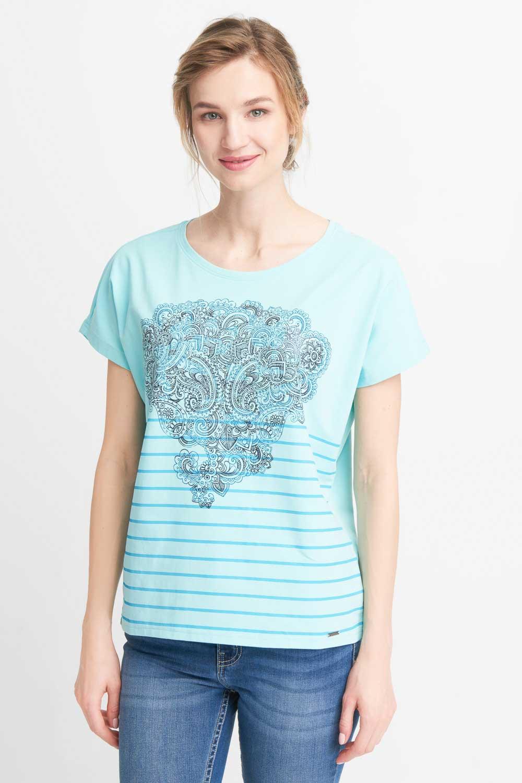 Turkusowa bluzka z orientalnym wzorem