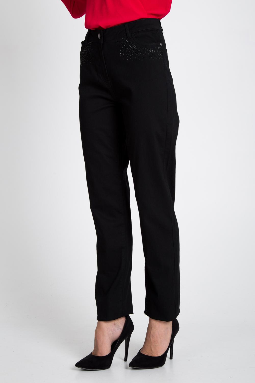 Czarne spodnie z cyrkoniami