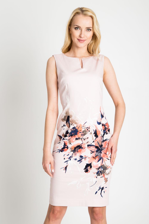 Jasnoró¿owa sukienka z kwiatami