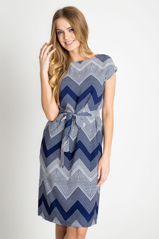 Granatowa wi±zana sukienka w geometryczny wzór
