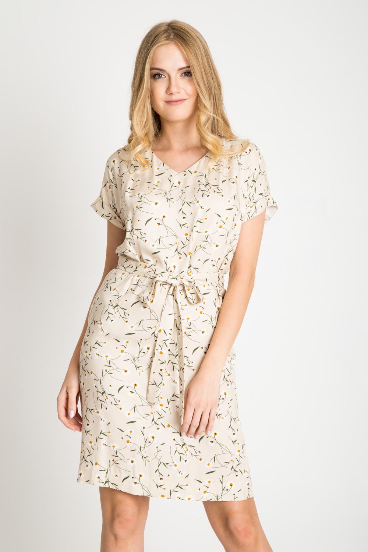 Be¿owa sukienka w drobne kwiatki