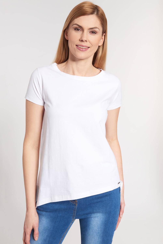 Bia³a asymetryczna bluzka z krótkim rêkawem