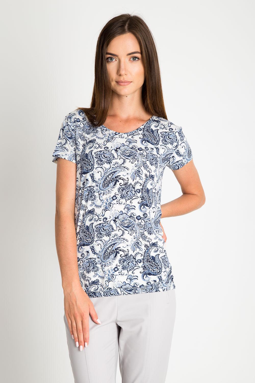 Bia³a bluzka w niebieski wzór