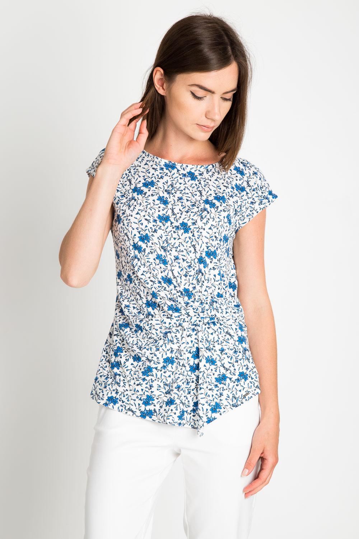 Bia³a bluzka w niebieskie kwiatki