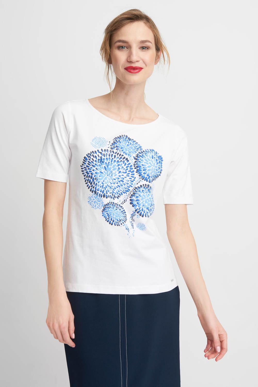 Bia³a bluzka z niebieskie dmuchawce