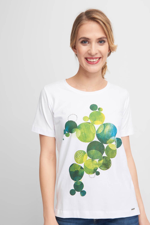 Bia³a bluzka z zielonym wzorem