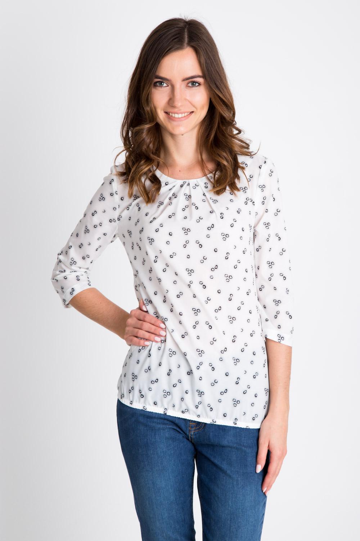 Bia³a bluzka ze wzorem z marszczonym dekoltem