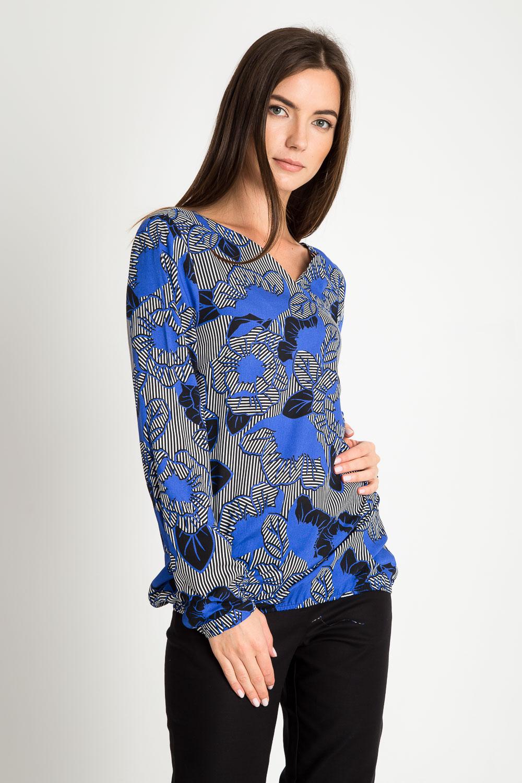 Bluzka bombka w niebieskie kwiaty