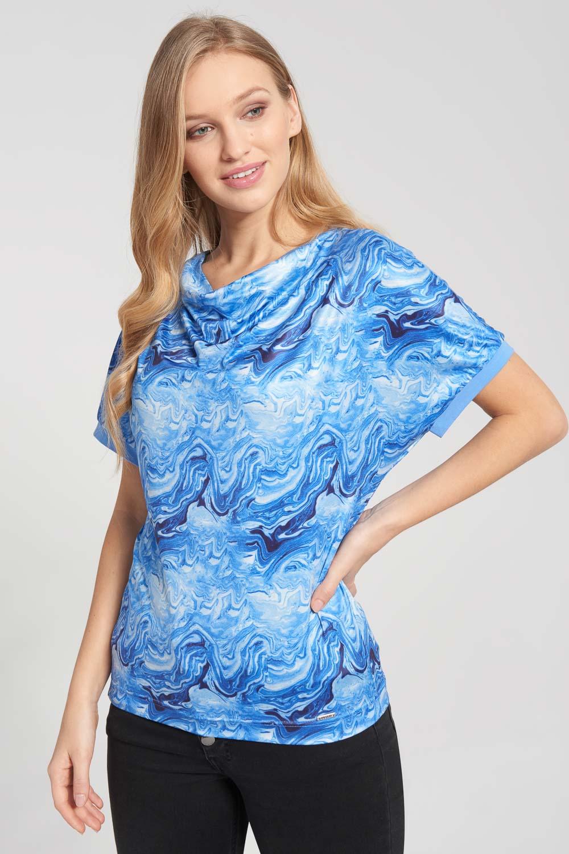 Bluzka nietoperz w odcieniach niebieskiego