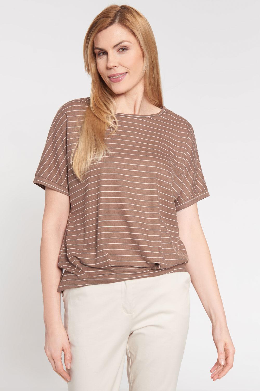 Br±zowa bluzka oversize w paski