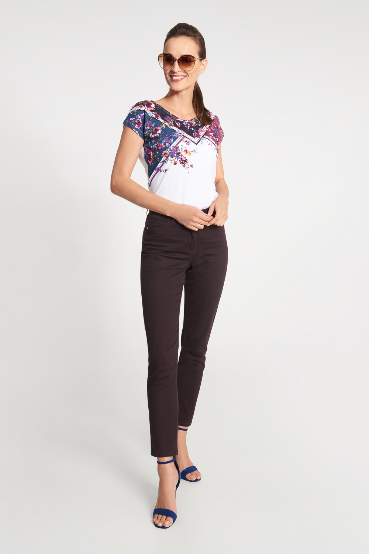 Br±zowe spodnie z regularnym stanem i prost± nogawk±