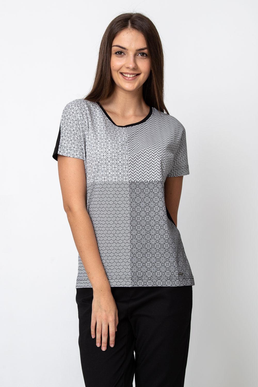 Czarna bluzka z multi wzorem