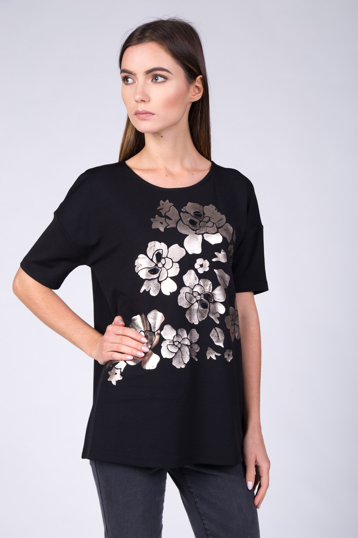 Czarna bluzka ze srebrnym printem