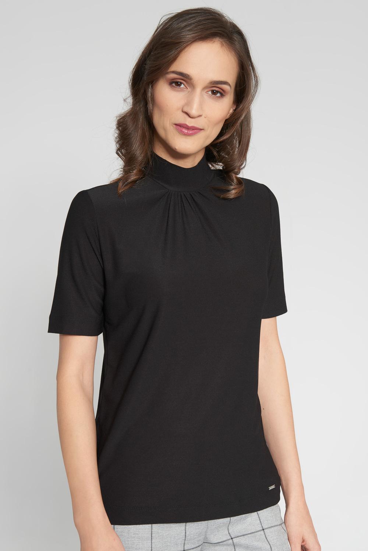 Czarna bluzka ze stójk± z guzikami z ty³u