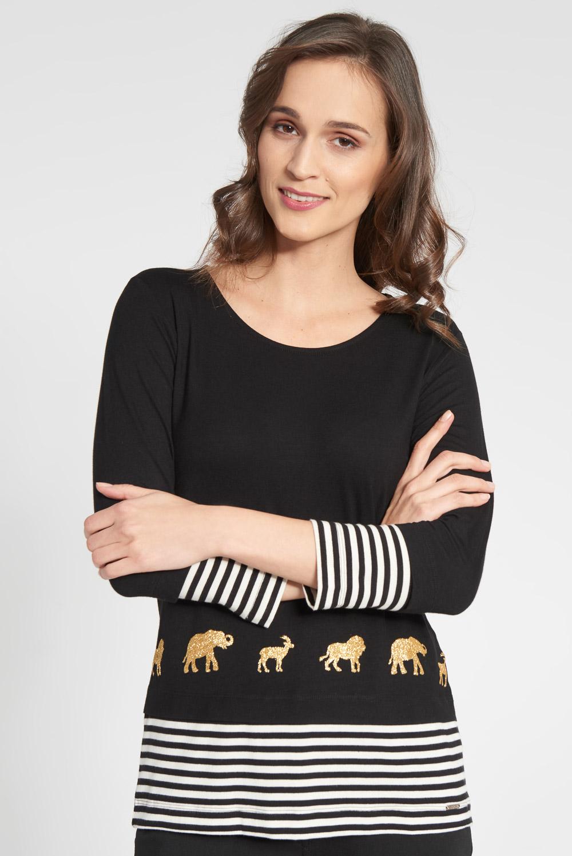 Czarna bluzka ze z³otymi zwierzêtami