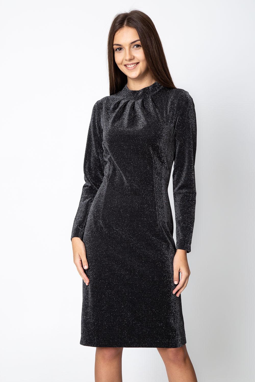 Czarna b³yszcz±ca sukienka z d³ugim rêkawem
