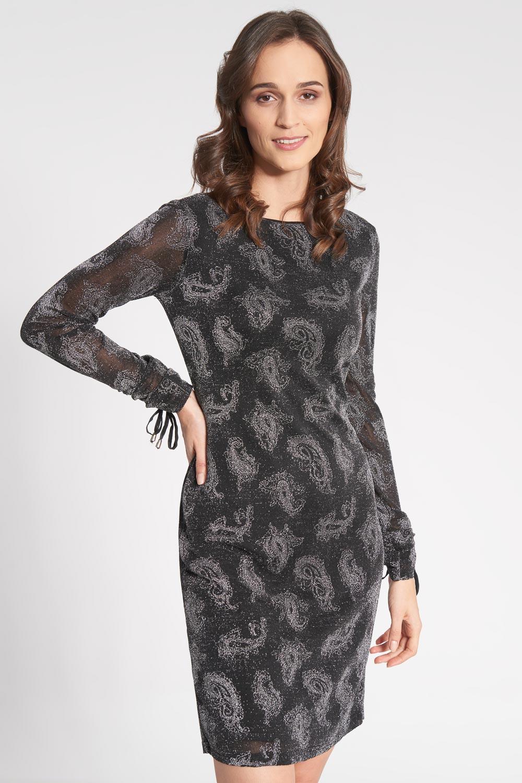 Czarna dopasowana sukienka z b³yszcz±cym wzorem