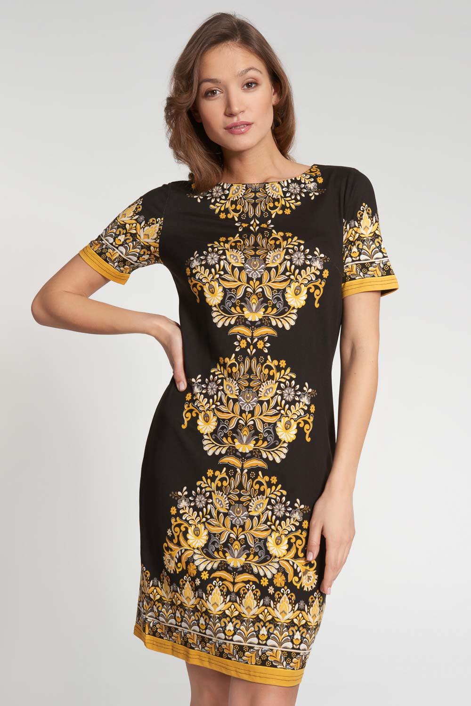 Czarna prosta sukienka z ¿ó³tym wzorem
