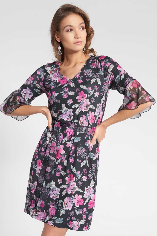 Czarna sukienka w ró¿owe kwiaty z tiulowymi rêkawami