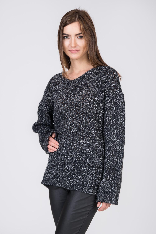 Czarno-srebrny sweter oversize