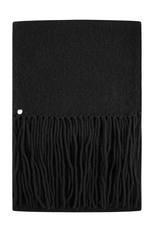 Czarny szalik z frêdzlami