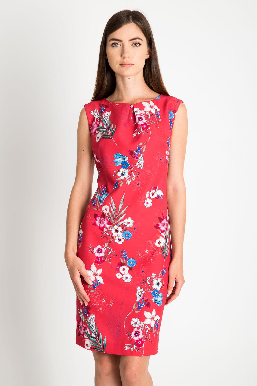 Czerwona dopasowana sukienka w kwiaty