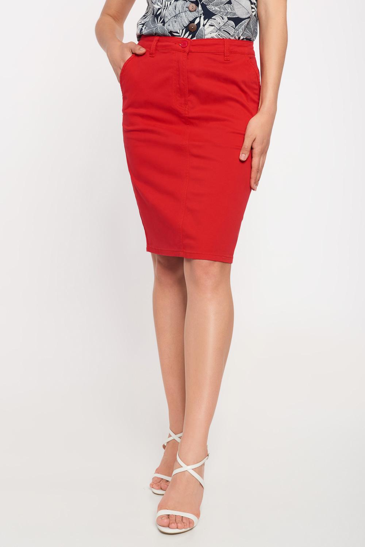 Czerwona g³adka spódnica do kolan