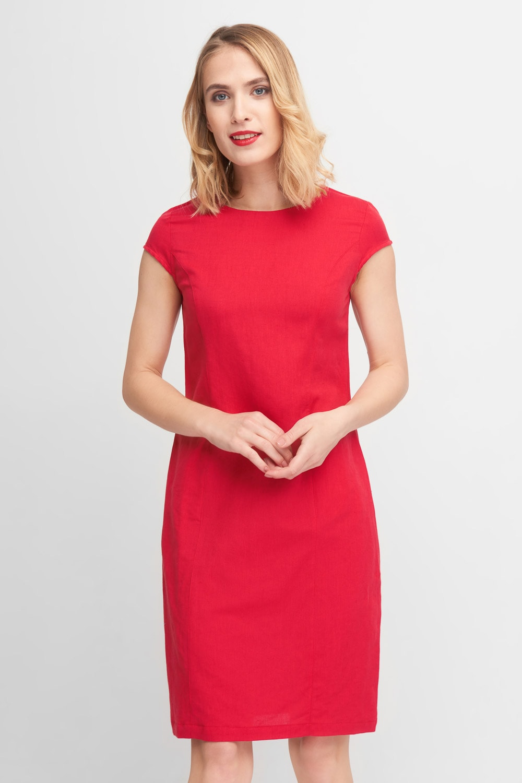 Czerwona prosta sukienka do kolan