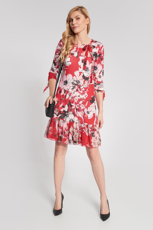 Czerwona sukienka w du¿e kwiaty z falban±