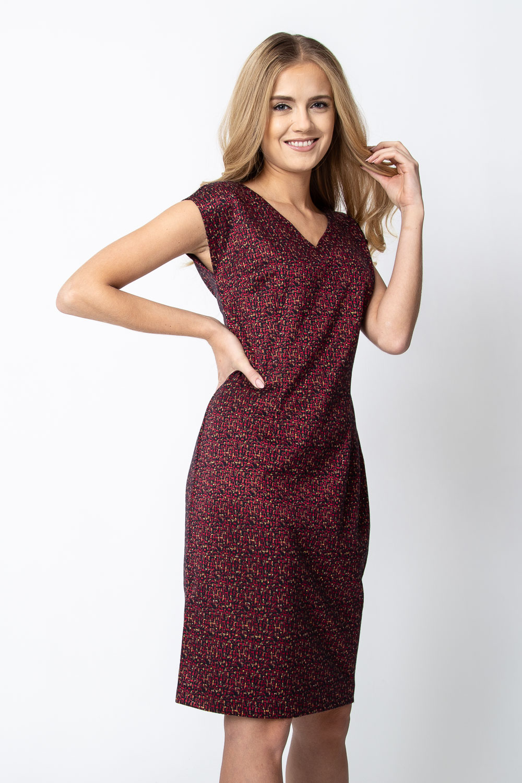 Czerwono-z³ota sukienka bez rêkawów