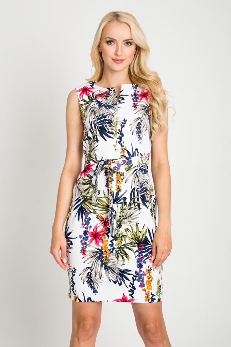 Biala Sukienka W Tropikalne Kwiaty Quiosque Pl