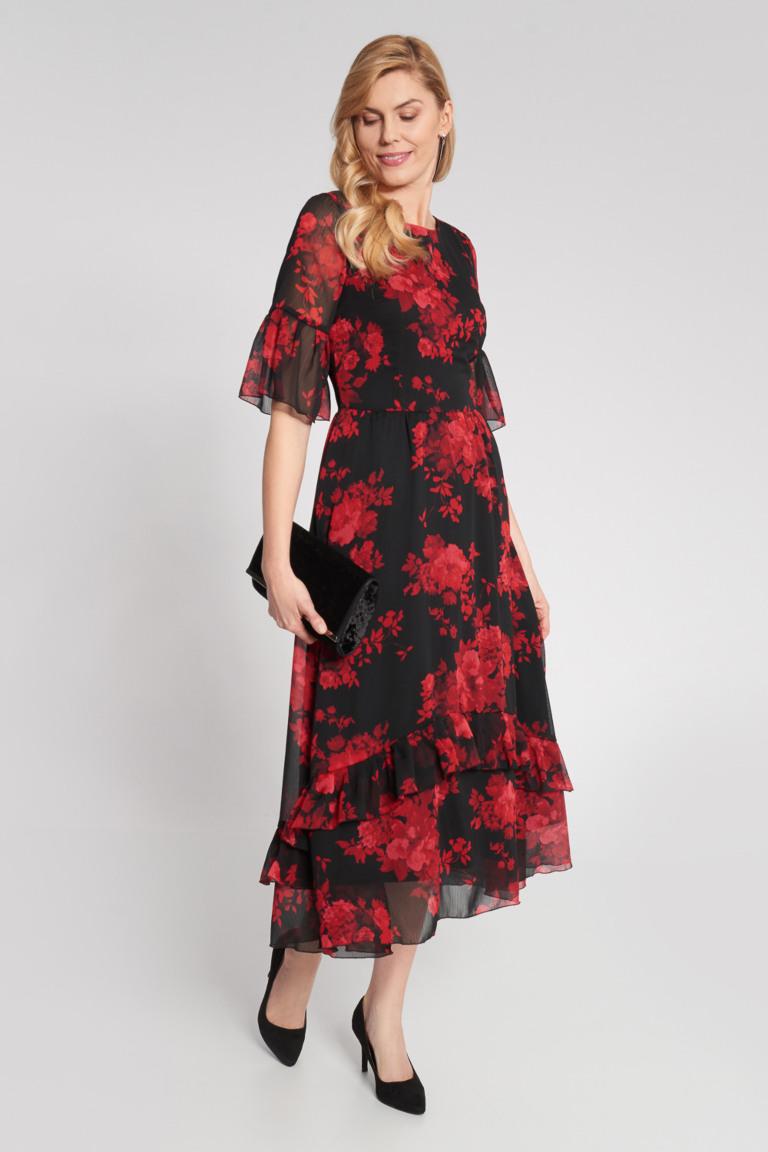 Czarna Dluga Sukienka Z Falbanami W Czerwone Kwiaty Quiosque Pl