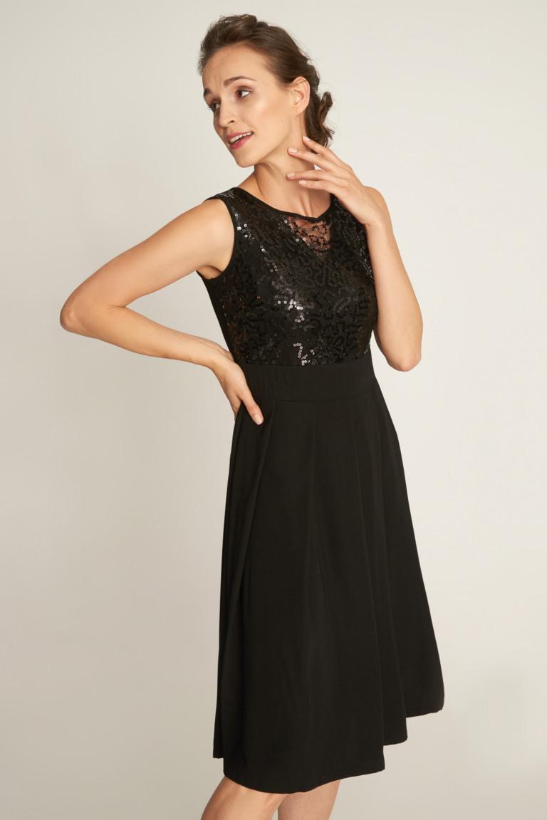 Czarna Sukienka Z Cekinowa Gora Quiosque Pl