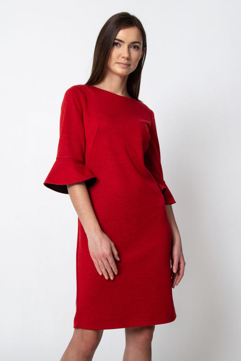 Czerwona Sukienka Z Rozkloszowanymi Rekawami Quiosque Pl
