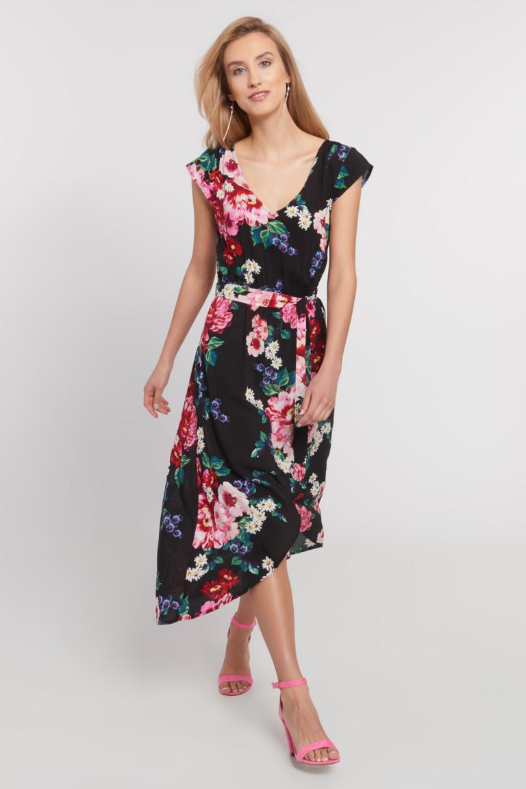 Granatowa Asymetryczna Sukienka W Kwiaty Quiosque Pl