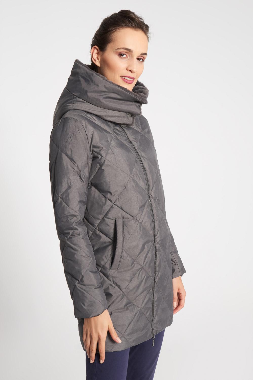 D³uga szara kurtka z pluszowym ko³nierzem