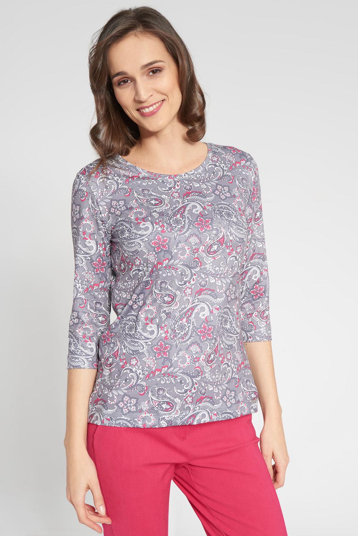 Fioletowa bluzka ze wzorem paisley
