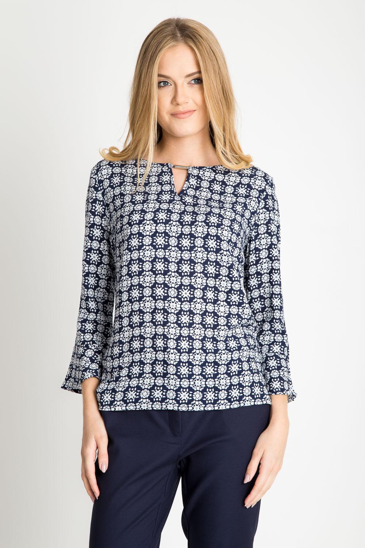 Granatowa bluzka w etniczny wzór