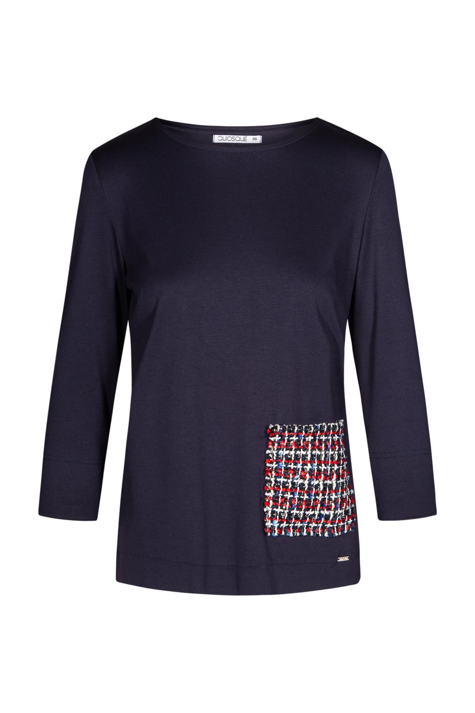 Granatowa bluzka z haftowan± kieszonk±
