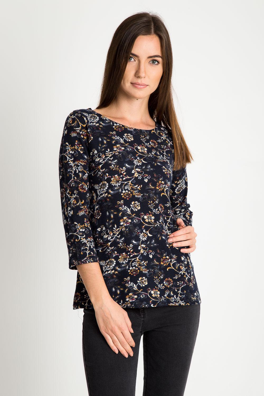 Granatowa bluzka z kwiatowym motywem