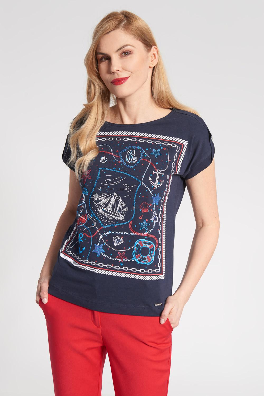 Granatowa bluzka z marynistycznym wzorem