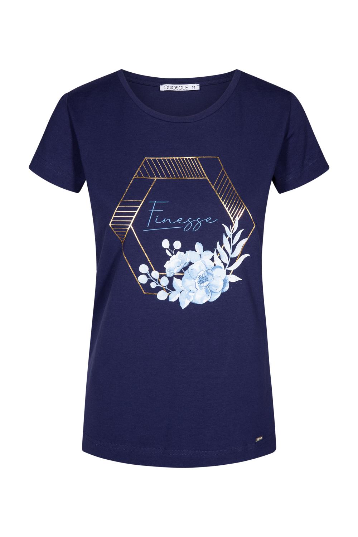 Granatowa bluzka z napisem i z³otym wzorem