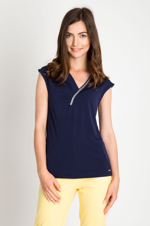 Granatowa bluzka z ozdobami