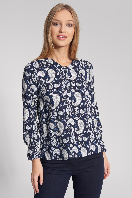 Granatowa bluzka ze wzorem paisley