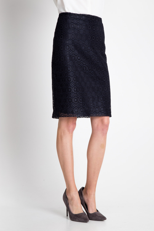 Granatowa koronkowa spódnica
