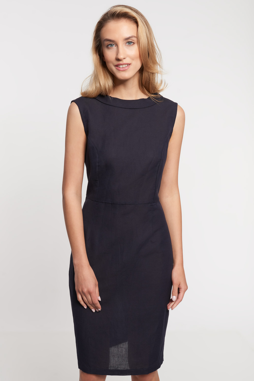 Granatowa lniana sukienka na szerokich rami±czkach
