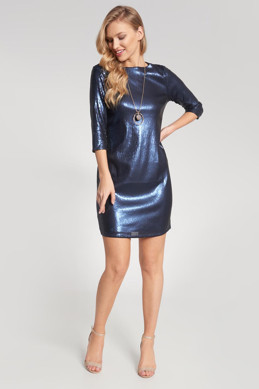 Granatowa metaliczna dopasowana sukienka