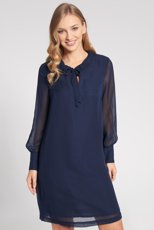 Granatowa prosta sukienka z pó³przezroczystymi rêkawami