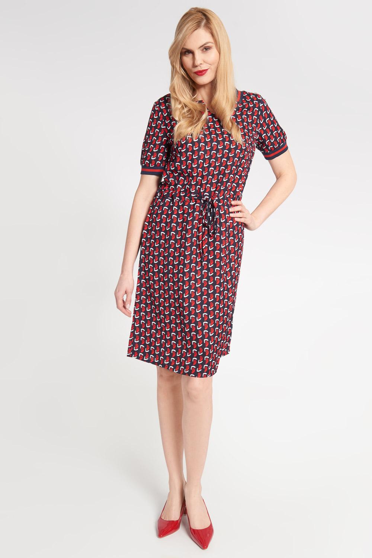 Granatowa sukienka z czerwonym wzorem ¶ci±gana w pasie
